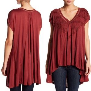 FREE PEOPLE boho flowy lace v-neck top cap sleeves